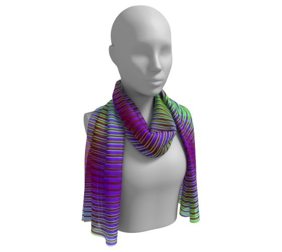 Vibrant Geometric Purple And Green Long Scarf