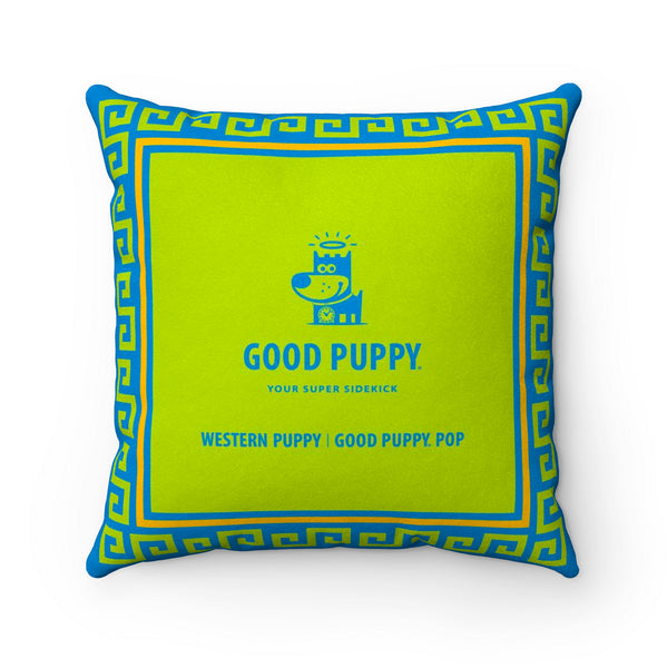 Western Puppy Good Puppy Faux Suede Square Pillow Accent For Children's Bedroom Decor