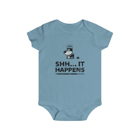 Shh... It Happens . Black Print . Infant Rip Snap Tee