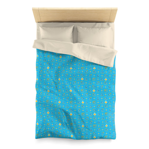 Betty Bad Kitty Pattern Blue Children's Duvet Cover