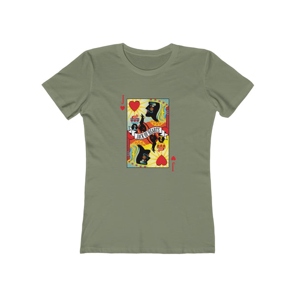 GEORGE'S DRAGON . Stack The Deck . Jack Of Hearts . Women's The Boyfriend Tee