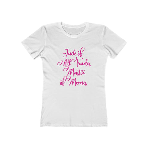 SACRED CLOWNS . Master Of Memes . Magenta Print . Women's The Boyfriend Tee