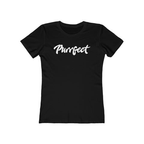 Purrfect . White . Women's The Boyfriend Tee