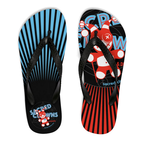 SACRED-CLOWNS . Logo . Unisex Flip-Flops . Red Blue
