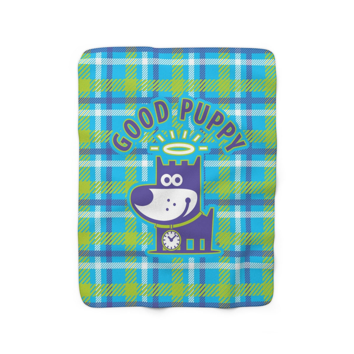 Good Puppy Plaid II Green . Sherpa Fleece Blanket