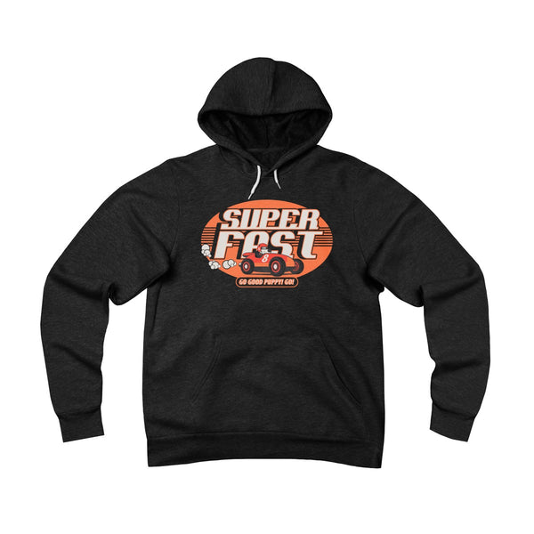 GOOD PUPPY VINTAGE . Super Fast . Orange Print . Unisex Sponge Fleece Pullover Hoodie