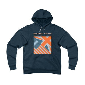 Double Vision . Orange On Dark . Unisex Sponge Fleece Pullover Hoodie