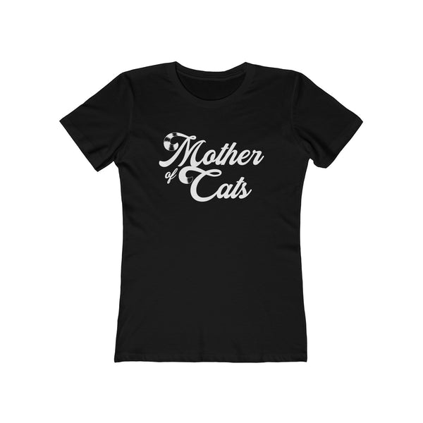 Mother Of Cats . White . Women's The Boyfriend Tee