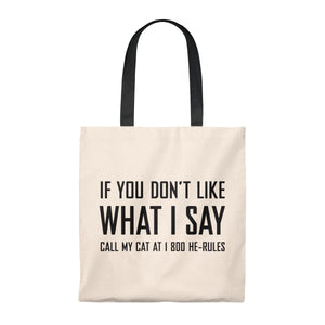 Call My Cat . Black . Tote Bag