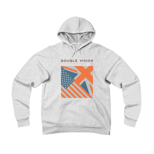 Double Vision . Orange On Light . Unisex Sponge Fleece Pullover Hoodie