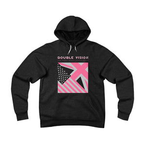 Double Vision . Pink On Dark . Unisex Sponge Fleece Pullover Hoodie