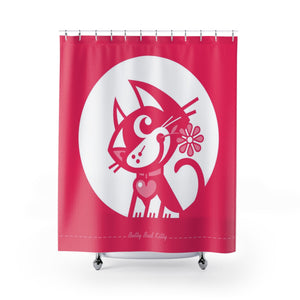 Betty Bad Kitty MoonFlower III . Shower Curtain