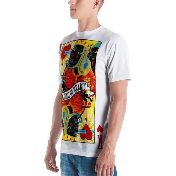 STACK THE DECK . King Of Hearts . Men's T-Shirt . Crew Neck . All Over Pre-Cut Print