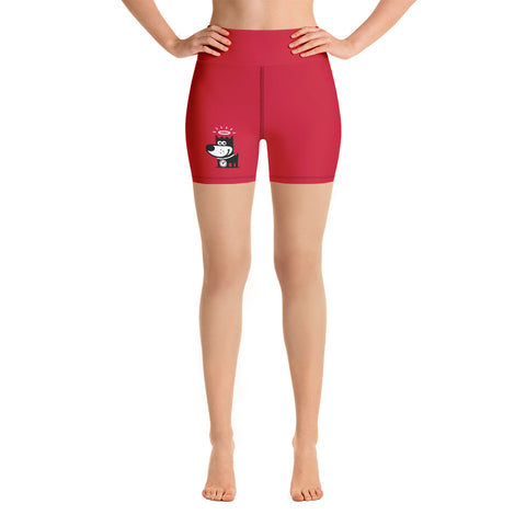 Logo . Red . Yoga Shorts