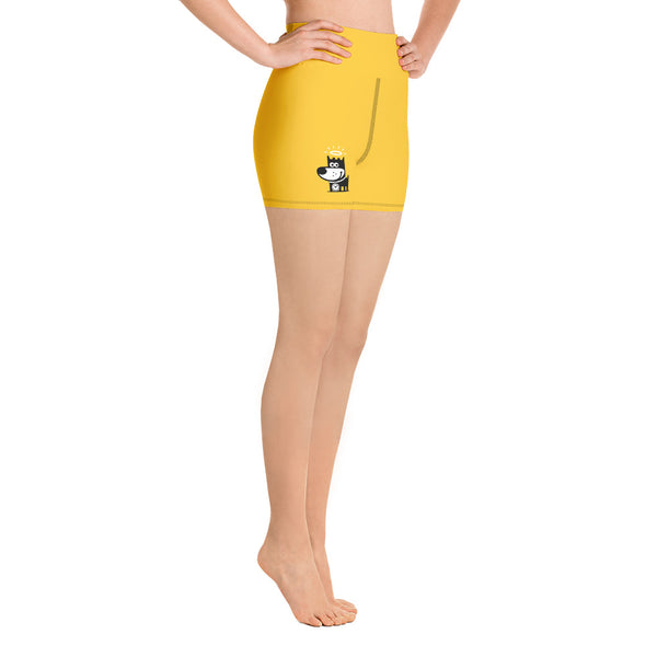 Logo . Yellow . Yoga Shorts