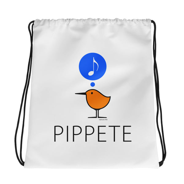 Song Bird - Love Birds . Sanderling Shorebirds . Drawstring Bag by PIPPETE
