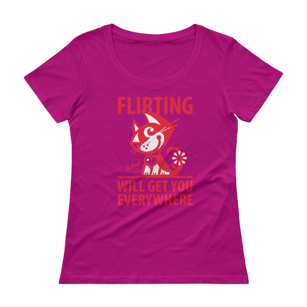 BETTY BAD KITTY . Flirting . Red Print . Women's T-Shirt