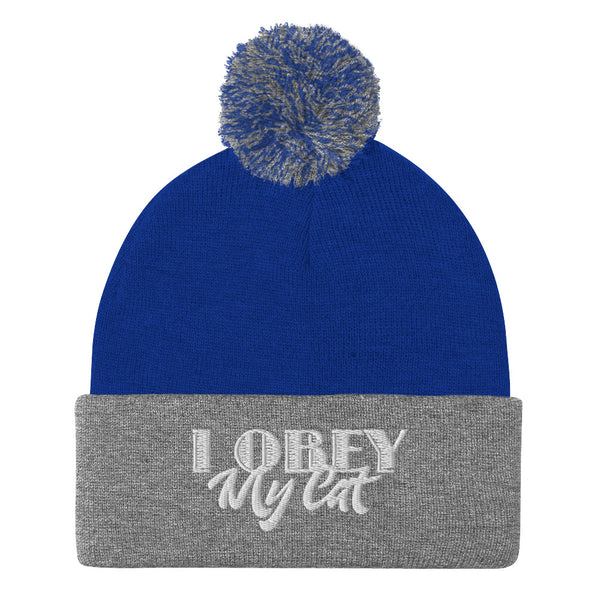 I Obey My Cat . White . Pom-Pom Beanie
