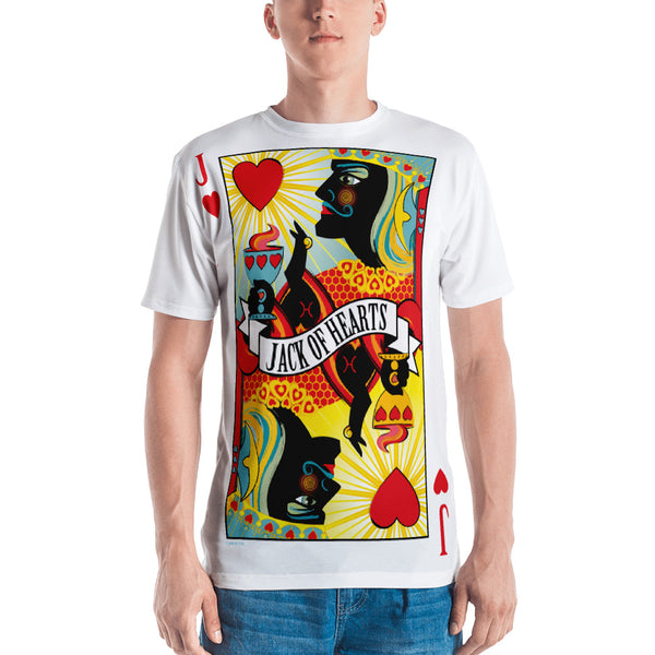 STACK THE DECK . Jack Of Hearts . Men's T-Shirt . Crew Neck . All Over Pre-Cut Print