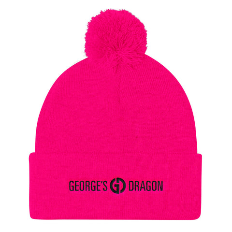 Logo . Knit Pom Pom Hat . Hot Pink
