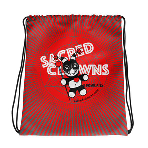 SACRED-CLOWNS . Logo . Drawstring Bag . Red