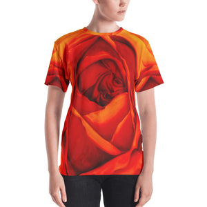 MARINA DI META . Light Vessels . Orange Rose . Women's Crew T-Shirt . All Over Pre-Cut Print