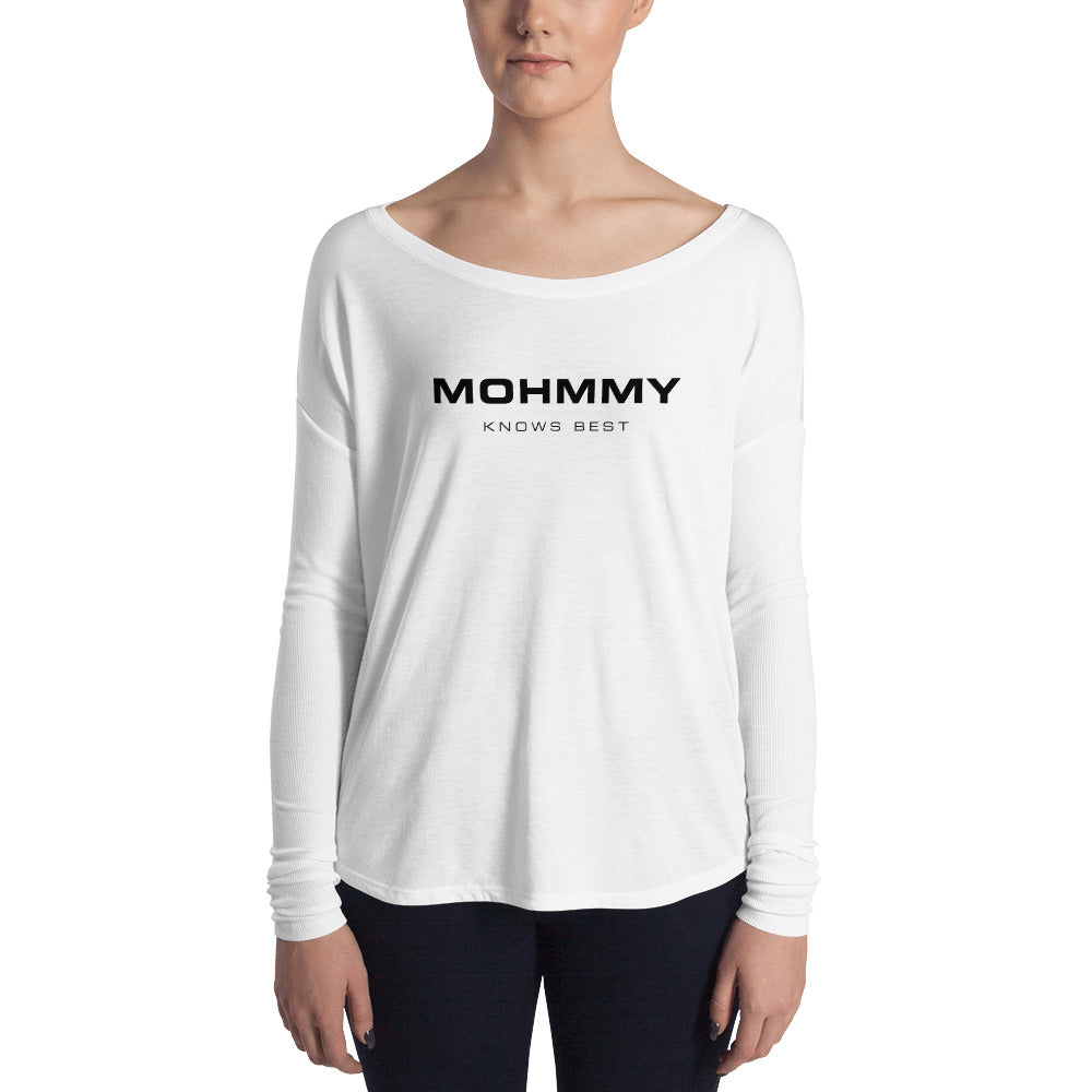 MOHMMY . Logo . Black Print . Women's Flowy Long Sleeve Tee