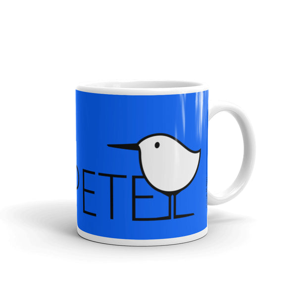 Early Birds . Sanderling Shorebirds . Graphic Print . 11 oz Blue Mug by PIPPETE
