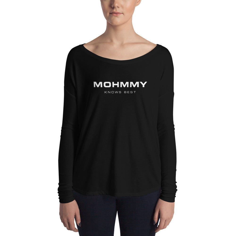 MOHMMY . Women's Flowy Long Sleeve Tee . Logo . Black