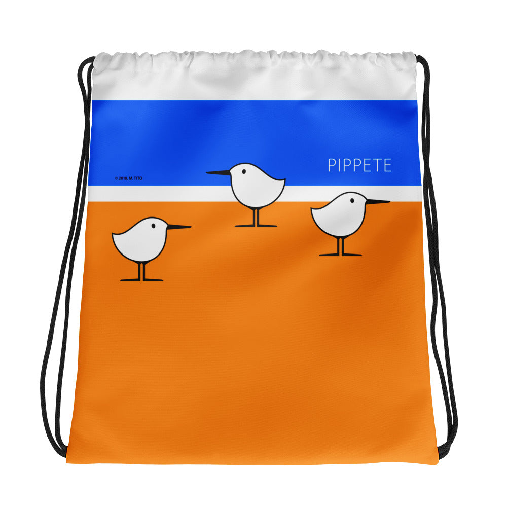 Beach Birds . Sanderling Shorebirds . Graphic Print . Drawstring Bag by PIPPETE