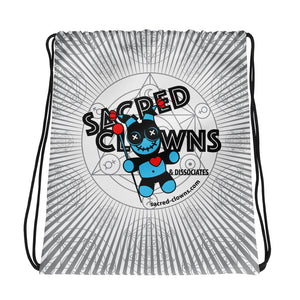 SACRED-CLOWNS . Logo . Drawstring Bag . White