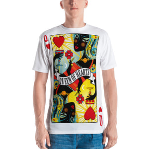 STACK THE DECK . Queen Of Hearts . Men's T-Shirt . Crew Neck . All Over Pre-Cut Print