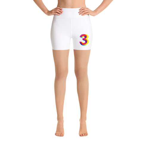 Three . White . Yoga Shorts