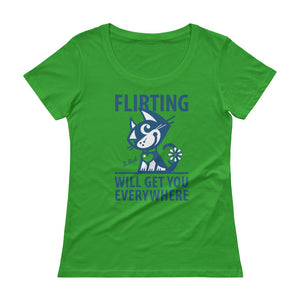 BETTY BAD KITTY . Flirting . Women's T-Shirt . Green