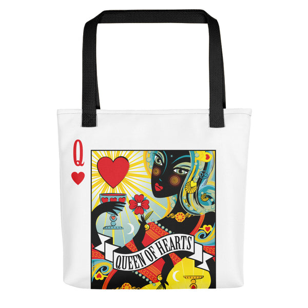 STACK THE DECK . Queen Of Hearts . Weather-Resistant Tote Bag