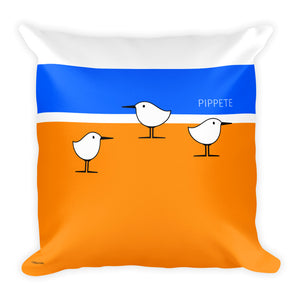 Beach Birds . Sanderling Shorebirds . Graphic Print . Square Pillow by PIPPETE