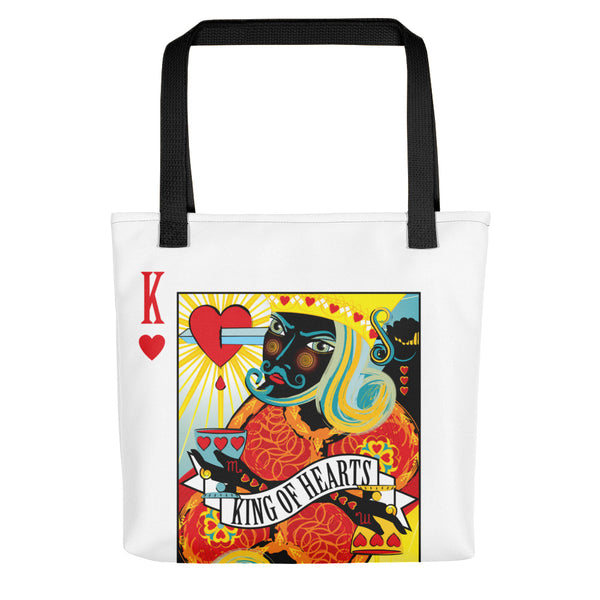 Stack The Deck . King Of Hearts . Weather-Resistant Tote Bag