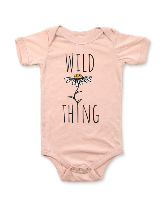 Heather Peach Baby Graphic Onesie Flat