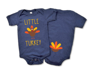 Little Turkey Navy Baby Bodysuit Front and Back