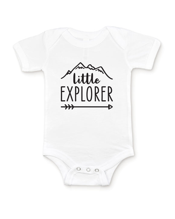 Little Explorer White Baby Bodysuit