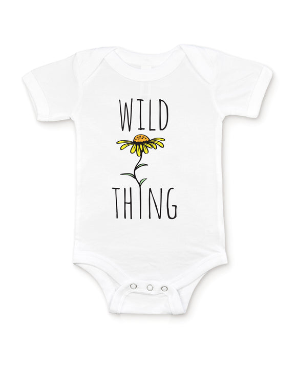 White Baby Graphic Bodysuit Onesie Flat