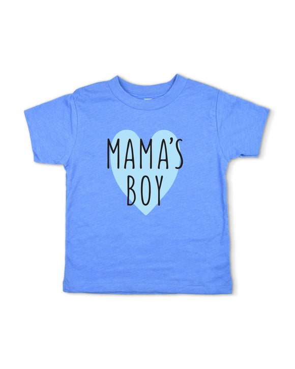 Mamas Boy Heather Blue Toddler Graphic Shirt