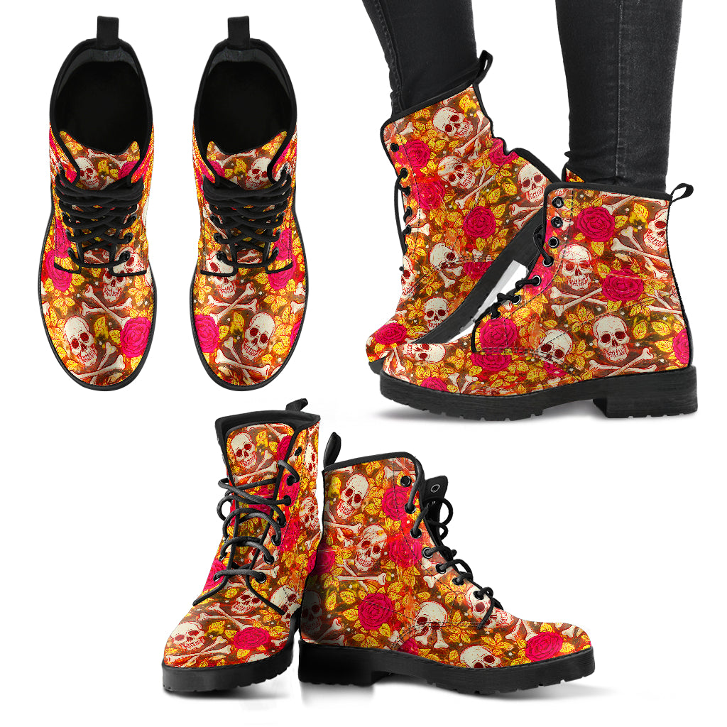 Skull And Bones Floral Women's Leather Boots