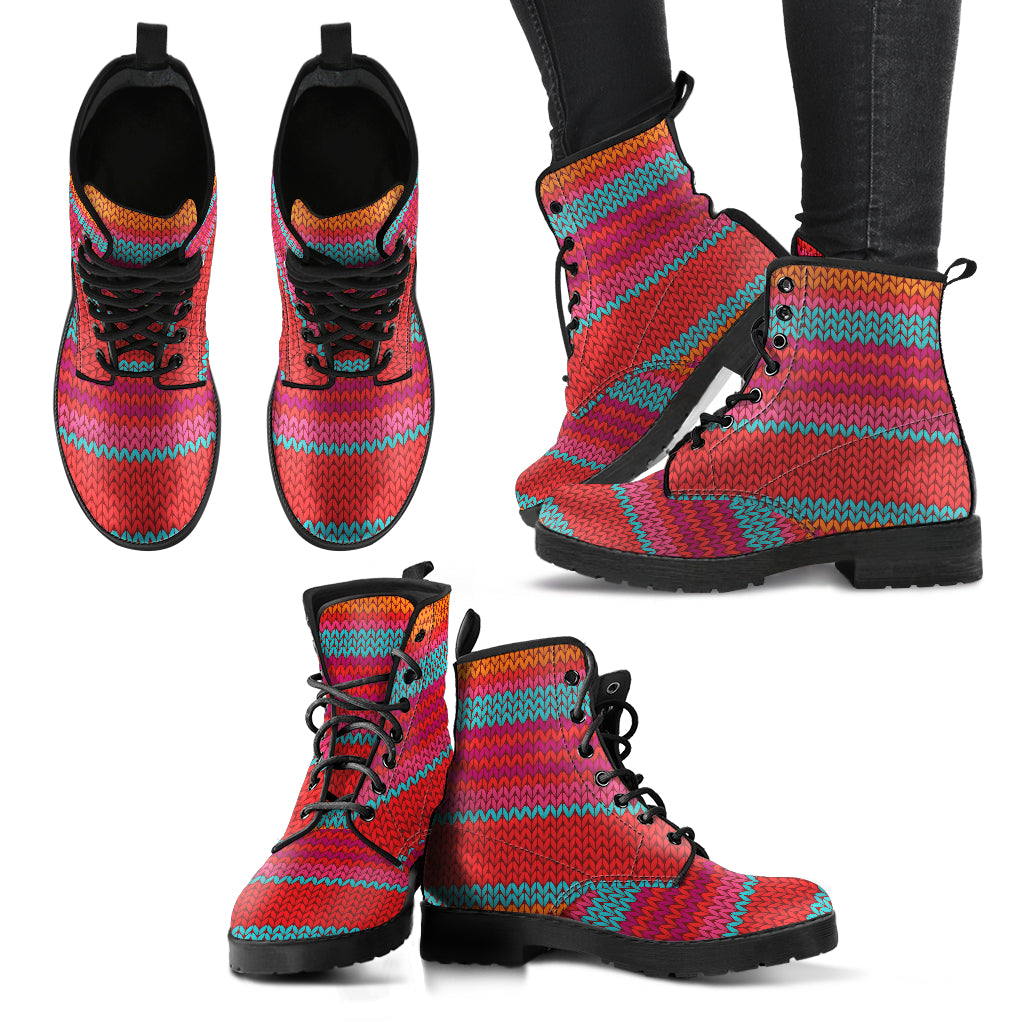 Colorful Knitted Stripes Handcrafted Boots