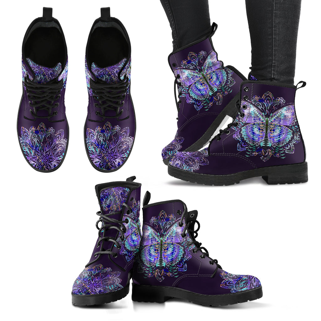 Purple Boho Butterfly Handcrafted Boots