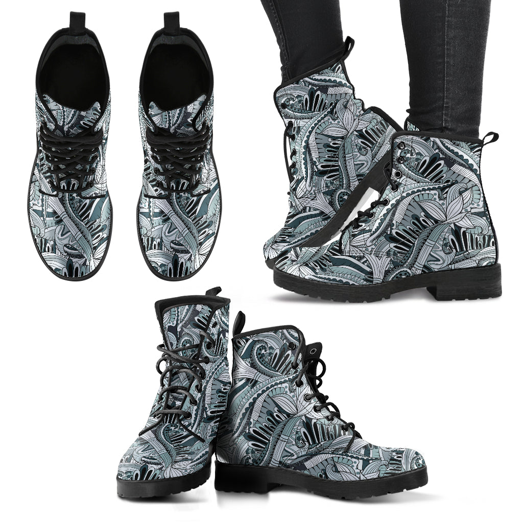 Funky Patterns in Blacks - Leather Boots for Women