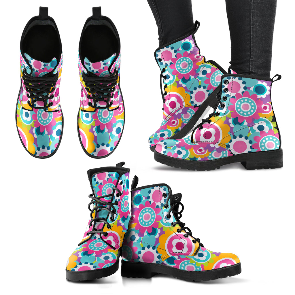 Colorful Flowers Handcrafted Boots