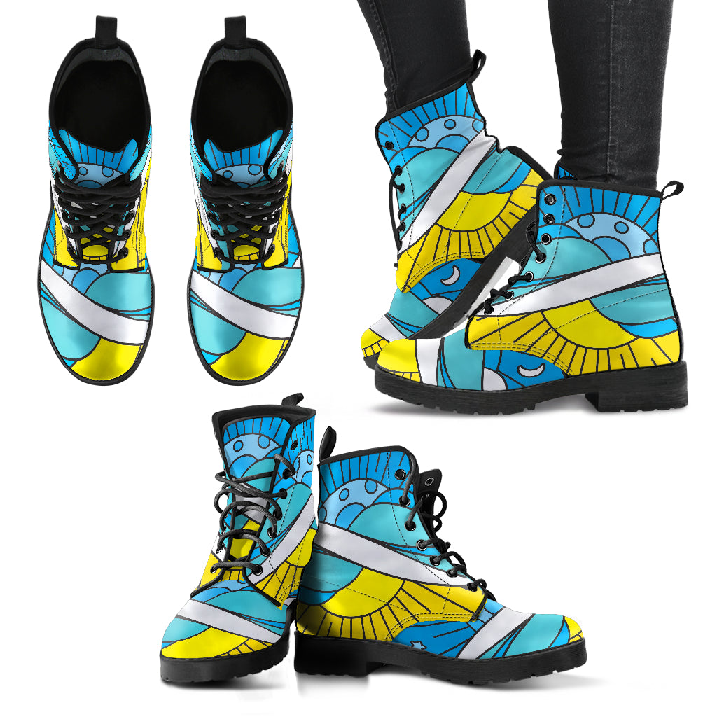 Mosaic Sun and Moon Women's Leather Boots