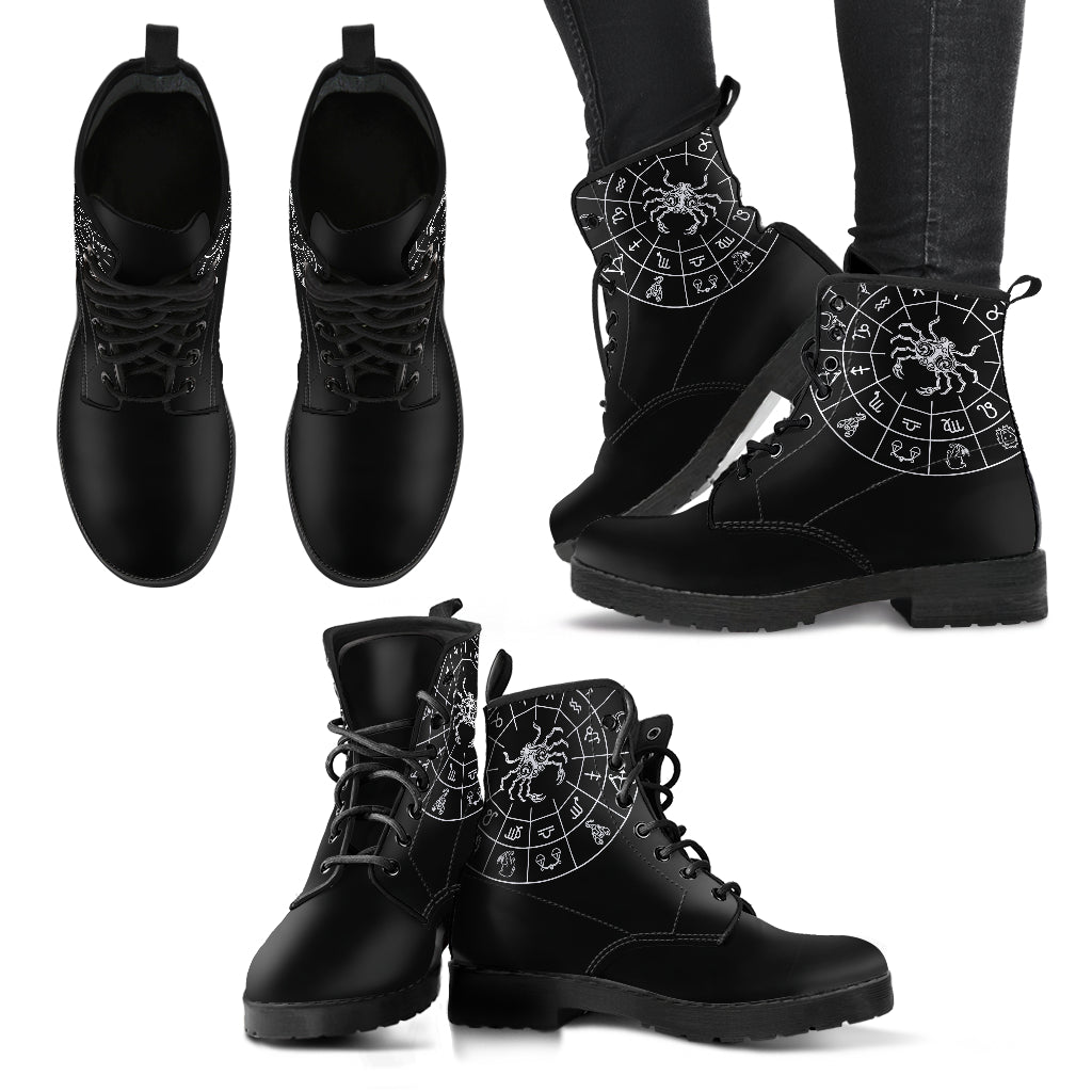 Cancer Black Zodiac Women's Leather Boots