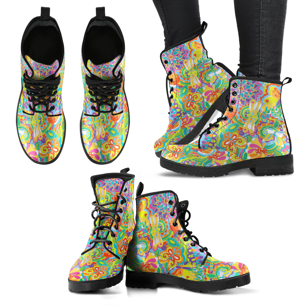 Colorful Dragonfly Handcrafted Boots